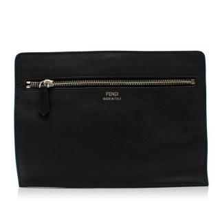 Fendi Black Leather Zipped Clutch