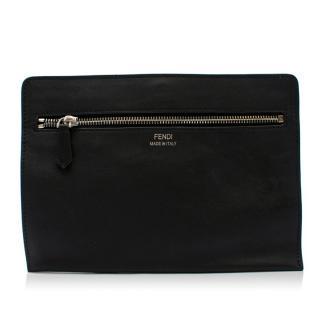 Fendi Black Leather Zipped Clutch