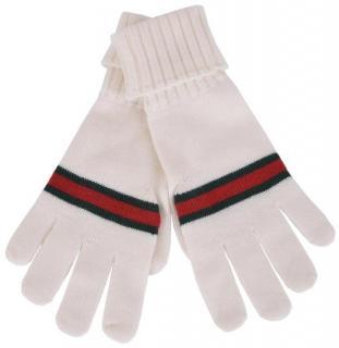 Gucci White Wool Web Gloves