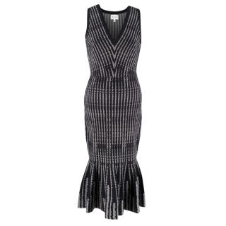 Milly Black and White Striped Dress