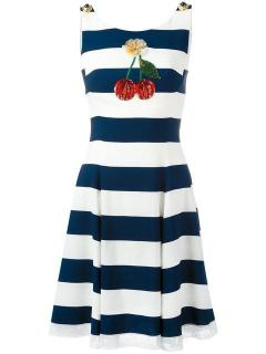 Dolce & Gabbana Cherry-Embroidered Striped Dress