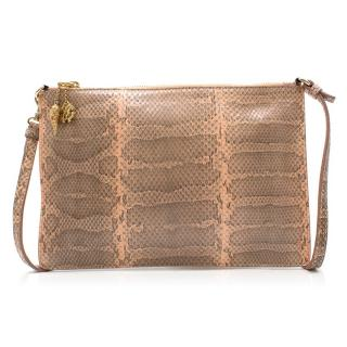 Roberto Cavalli Peach Python Shoulder Bag