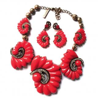 Oscar De La Renta Red Fan Necklace Set