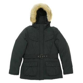 Woolrich Black Hooded Coyote Fur-Trim Down Parka
