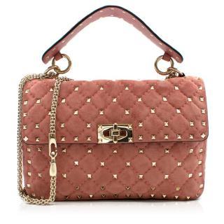 Valentino Pink Suede Rockstud Spike Medium Chain Bag