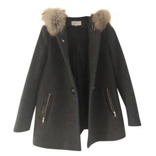 Sandro Raccoon Fur Hood Coat
