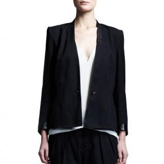 Helmut Lang Black Leather Trim Blazer Jacket