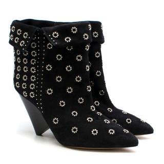 Isabel Marant Black Suede Rivet Cone-Heel Boots