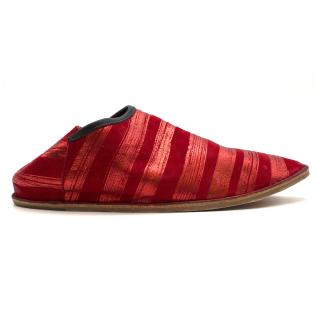 Georgina Goodman Red Striped-Jacquard Slip-On Shoes