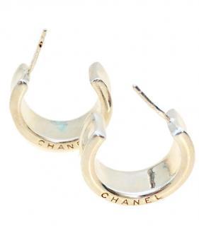 Chanel Silver Hoops