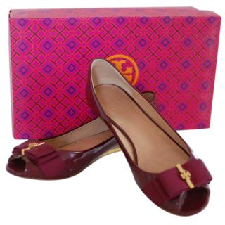 Tory Burch Patent Bow Flats