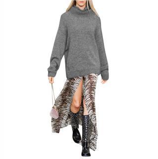 Saint Laurent Runway Distressed mohair-blend turtleneck sweater