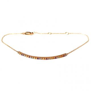 Bespoke Rainbow Gemstone 14ct Rose-Gold Bar Bracelet