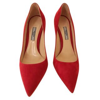 Prada Saffiano Red Suede Pumps