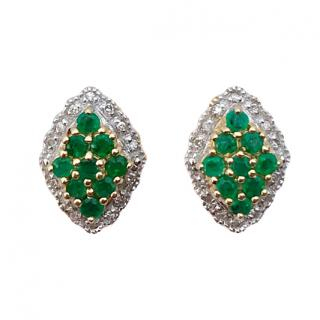 Bespoke 9ct Gold Emerald & Diamond Earrings