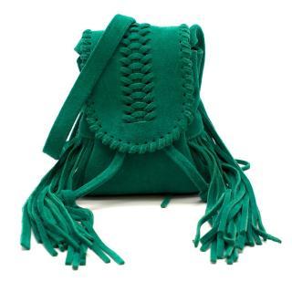 Grace Atelier De Luxe Green Suede Tassel Cross-body Bag