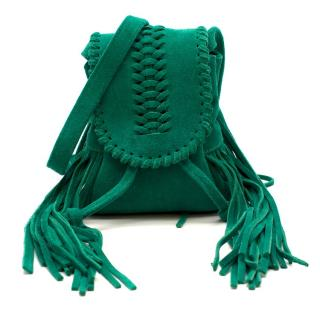 Grace Atelier De Luxe Green Suede Tassel Cross-body Bag
