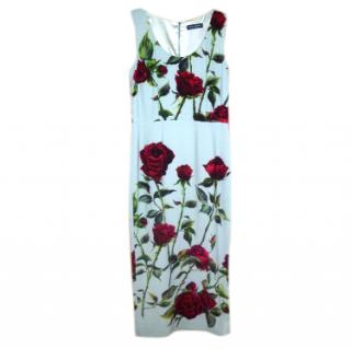 Dolce & Gabbana Duck-Egg Blue Rose Print Cady Dress