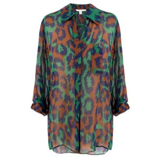 Diane Von Furstenberg Abstract Leopard Print Sheer Silk Blouse