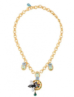 Dolce & Gabbana Crystal Bee Pendant Necklace