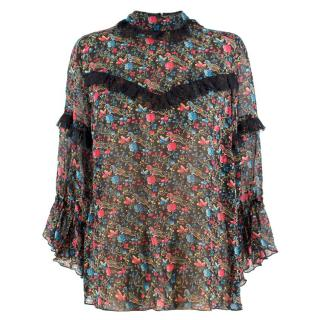 Anna Sui Sheer Silk Floral Lace Ruffle Blouse