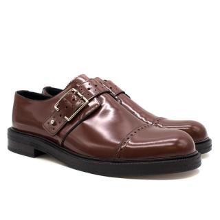 Loewe Brown Leather Buckled Brogues