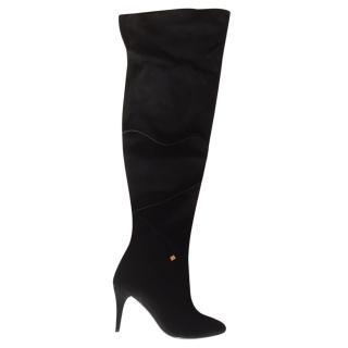 Ralph Lauren Thigh High Black Suede Boots