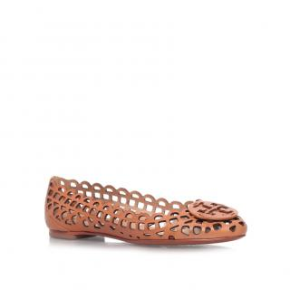 Tory Burch Mira Tanned Leather Ballet Flats