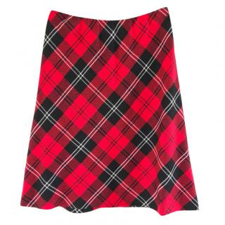Escada wool red tartan skirt