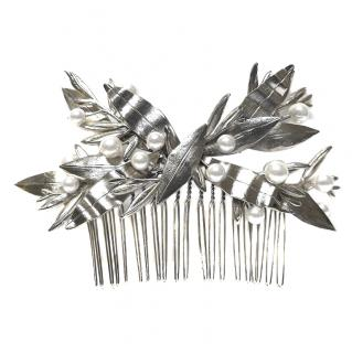 Caroline Chammas Silver Floral Headpiece