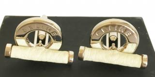 Celine Stainless Steel & Leather Cufflinks