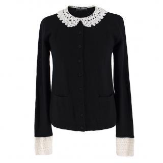 Dolce & Gabbana Crochet-Trimmed Cashmere Cardigan