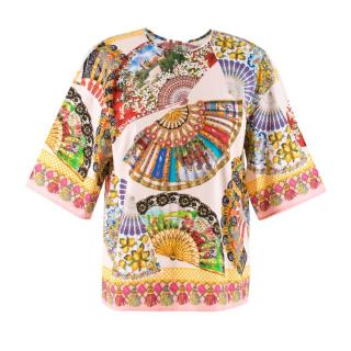 Dolce & Gabbana Fan-Printed Cotton Top