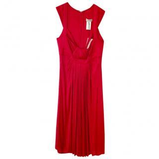 Celine Gathered-Waist Sleeveless Red Dress