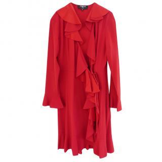 Paule Ka Scarlet Red Crepe Ruffle Trim Wrap Dress