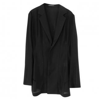 Yohji Yamamoto Black Wool Mix Light Weight Fin Back Jacket Sz2