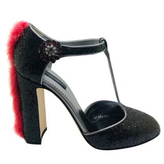 Dolce & Gabbana Fur-Trimmed Glitter Heels