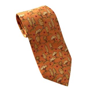 Hermes Orange Silk Tie