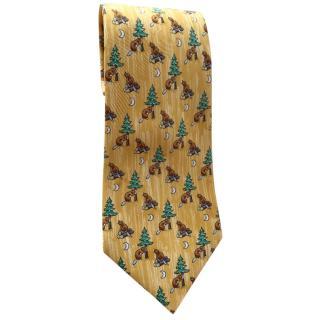 Hermes Yellow Silk Beaver Tie