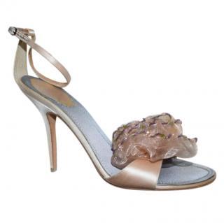 Ren� Caovilla Floral-Embellished Satin Sandals