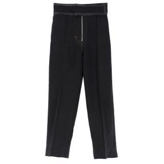 Celine Black Leather Trim Velcro Belted Silk-Noil Trousers