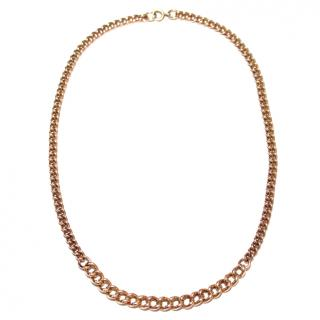 Antique English 9ct Rose-Gold Graduated Curb-Chain Necklace
