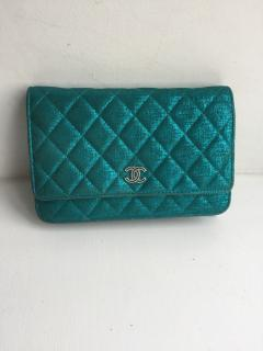 Chanel Iridescent Teal Wallet on a Chain