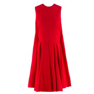 Alexander Mcqueen Red Pleated Playsuit