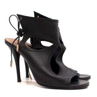 Aquazurra Black Cut-Out Leather Sandals