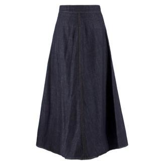 Christian Dior Blue Denim Maxi Skirt