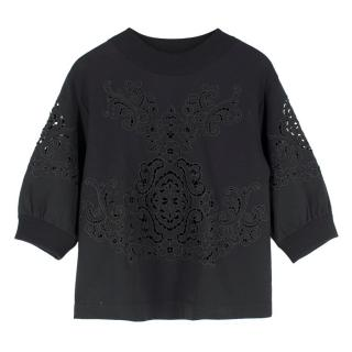 Dolce & Gabbana Black Cut-Out Embroidery Sweatshirt