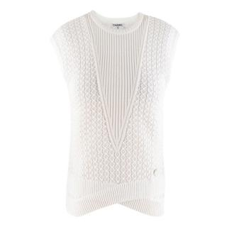 Chanel White Knit Sleeveless Top
