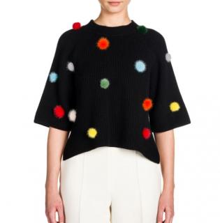 Fendi Black Cashmere Jumper with Mink Fur PomPoms