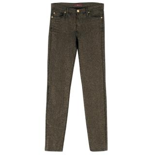 7 For All Mankind Iridescent Gold Metallic Jeans